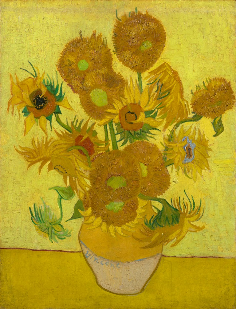 sunflowers painting at the van gogh museum in amsterdam holland